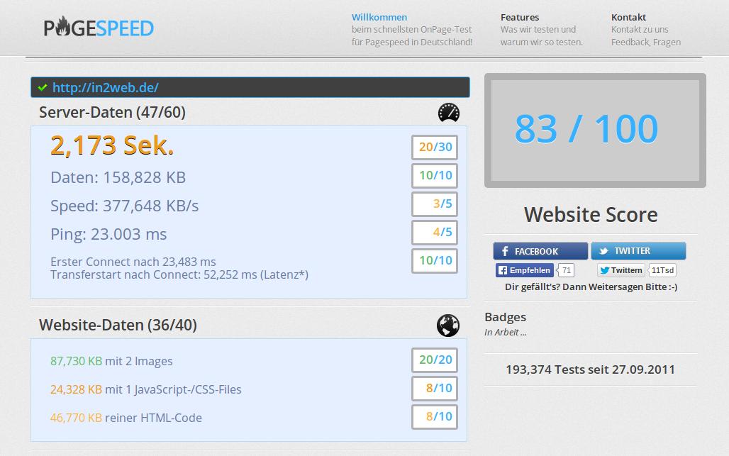 Screenshot: pagespeed.de ( nach der Ladezeit-Optimierung)