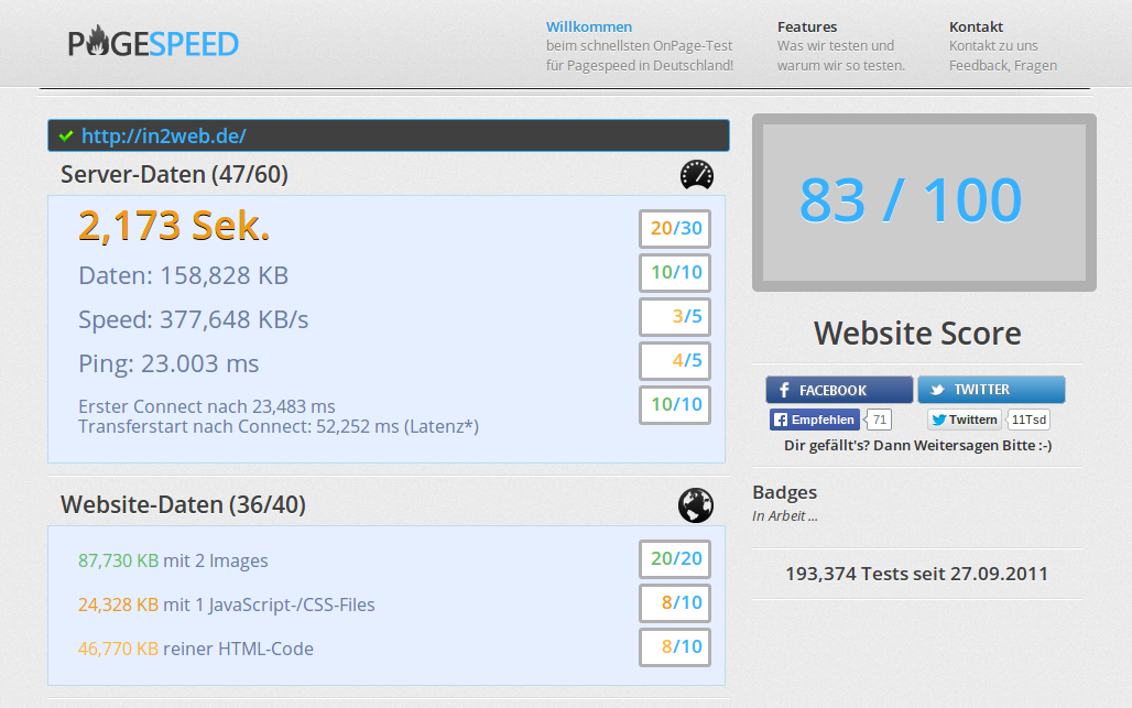 Screenshot: pagespeed.de ( nach der Ladezeit-Optimierung)